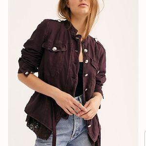 Free People Emilia Jacket Lacey Military Style S
